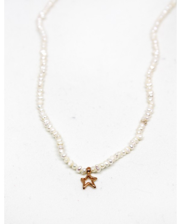 Gold Star Pearl Necklace