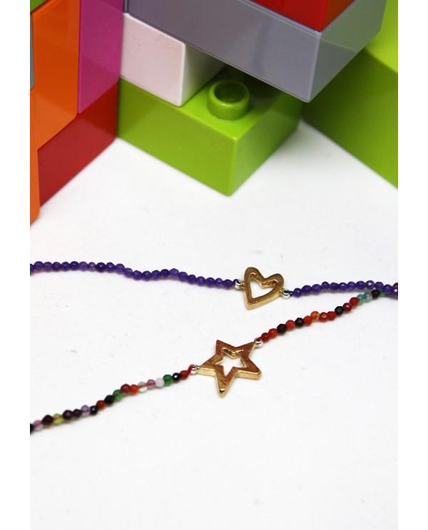 Amethyst Heart Bronze Bracelet